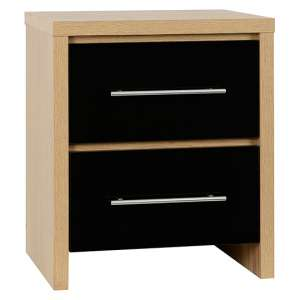 Seville Bedside Chest In Black High Gloss With 2 Drawers