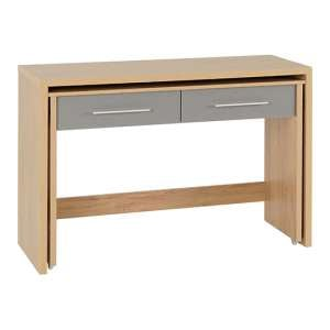 Seville Slider Desk In Grey Gloss With 2 Drawers