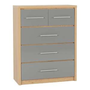 Seville Wooden Large Chest OF Drawers In Grey High Gloss