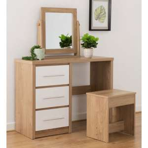 Seville Dressing Table Set In White High Gloss And Light Oak