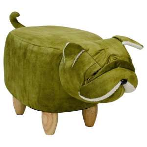 Shar Pei Dog Shaped Pouffe In Green Finish