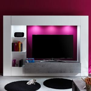 Santiago Entertainment Unit In White And Concrete With LED_3