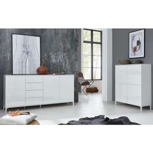 Sheldon Large Sideboard And Storage Cabinet In White High Gloss