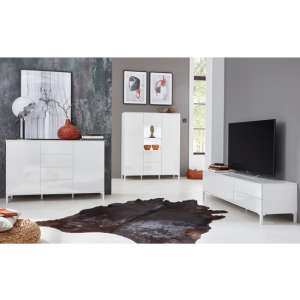 Sheldon Living Room Furniture Set And Sideboard In White Gloss