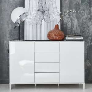 Sheldon Medium Sideboard In White Gloss With 2 Doors 4 Drawers