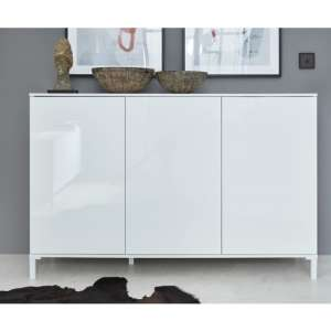 Sheldon Small Sideboard In White High Gloss With 3 Doors