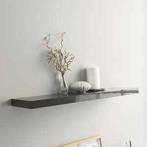 Shelvza Large Wooden Wall Shelf In Grey High Gloss