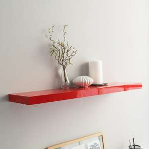 Shelvza Large Wooden Wall Shelf In Red High Gloss