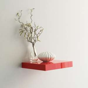 Shelvza Small Wooden Wall Shelf In Red High Gloss