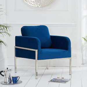 Sherri Velvet Accent Lounge Chair In Blue With Metal Frame