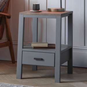 Sherwood Wooden Side Table In Smoked Grey
