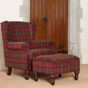 Shetland Fabric Lounge Chair In Claret With Foot Stool