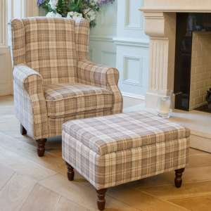 Shetland Fabric Lounge Chair In Latte With Foot Stool