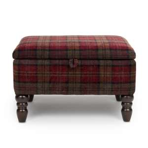 Shetland Fabric Storage Foot Stool In Claret