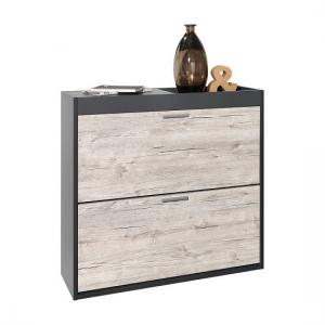 Shirley Shoe Cabinet In Anthracite And Sand Oak