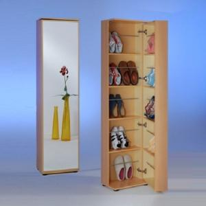 Wooden Shoe Cabinet With Mirror In Beech