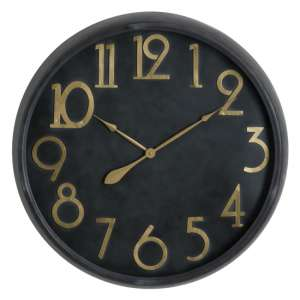 Shook Large Metal Wall Clock In Black And Brass