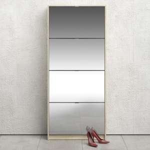 Shovy Mirrored Shoe Cabinet In Oak With 4 Doors And 2 Layers