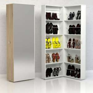 Shovy Mirrored Shoe Storage Cabinet In Oak With 1 Door