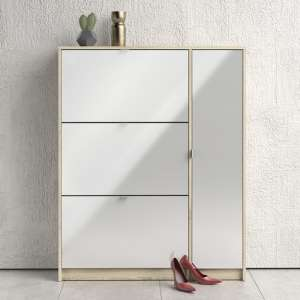 Shovy White High Gloss Shoe Cabinet In Oak With 4 Doors 2 Layers