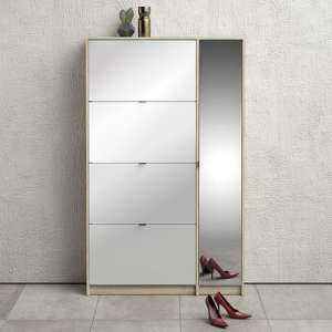 Shovy White High Gloss Shoe Cabinet In Oak With 5 Doors 2 Layers