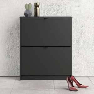 Shovy Wooden Shoe Cabinet In Matt Black With 2 Doors And 2 Layer