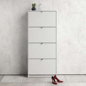 Shovy Wooden Shoe Cabinet In White With 4 Doors And 2 Layers
