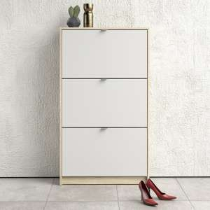 Shovy Wooden Shoe Cabinet In White And Oak With 3 Doors 2 Layers