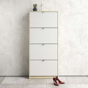 Shovy Wooden Shoe Cabinet In White And Oak With 4 Doors 2 Layers