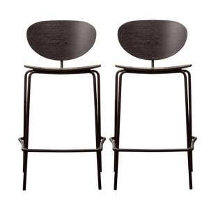 Sidco Black Wooden Bar Stools In Pair