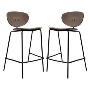 Sidco Grey Wooden Bar Stools In Pair