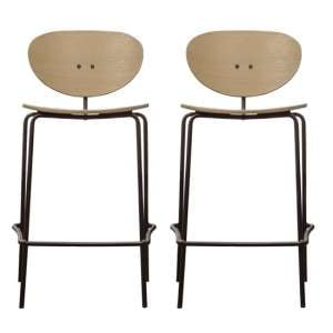 Sidco Natural Wooden Bar Stools In Pair