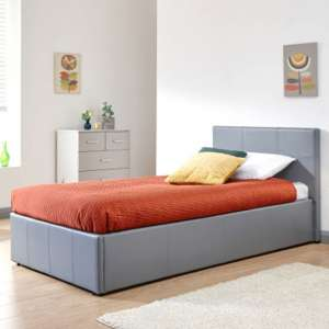 Side Lift Ottoman Faux Leather Single Bed In Grey