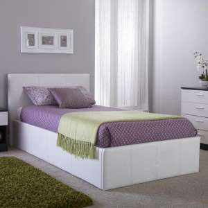 Side Lift Ottoman Faux Leather Single Bed In White