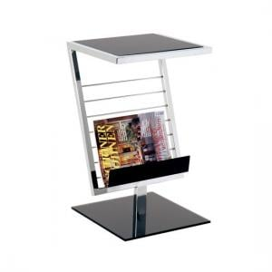 Mia End Table With Magazine Rack In Black Glass