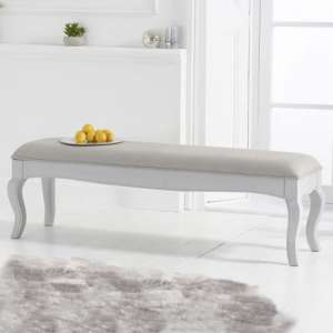 Sienna Grey Large Dining Bench With Grey Fabric Seat