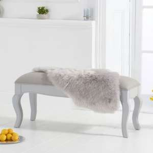 Sienna Grey Small Dining Bench With Grey Fabric Seat