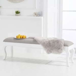 Sienna White Large Dining Bench With Grey Fabric Seat