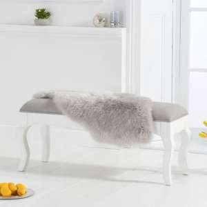 Sienna White Small Dining Bench With Grey Fabric Seat