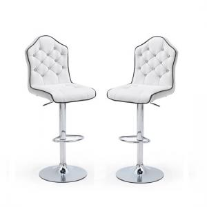 Sigma Modern Bar Stools In White Faux Leather In A Pair