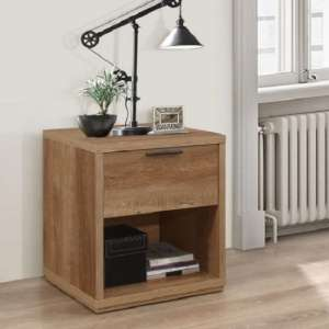 Silas Wooden Bedside Cabinet In Rustic Oak Effect With 1 Drawer