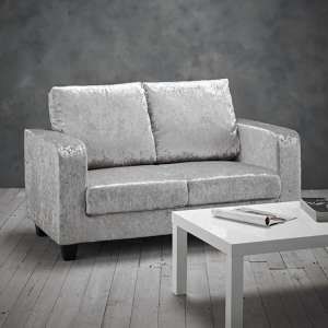 Canes Crushed Velvet 2 Seater Sofa In Silver