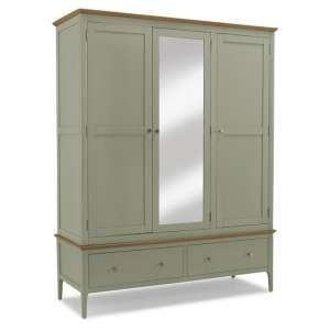 Simona Mirrored Wardrobe Wide In Sage Green With 3 Doors