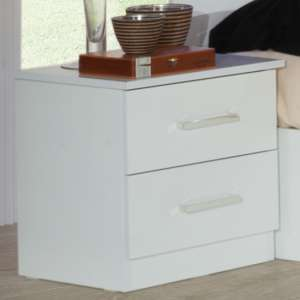 Simona Wooden Bedside Cabinet In White High Gloss With 2 Drawers