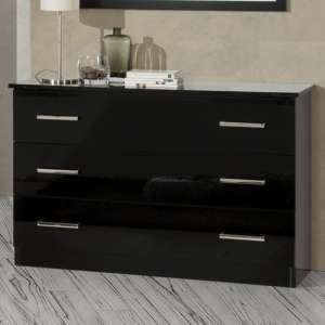 Simona Wooden Chest Of Drawers In Black High Gloss With 3 Drawers