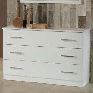 Simona Wooden Chest Of Drawers In White High Gloss With 3 Drawers