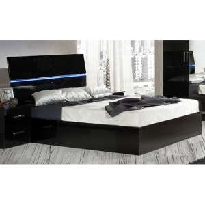 Simona High Gloss King Size Bed In Black With LED