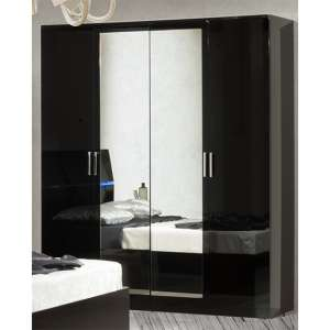 Simona Wooden Wardrobe In Black High Gloss With 4 Doors