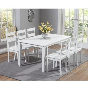 Bremen Wooden Dining Table In White With 6 Dining Chairs