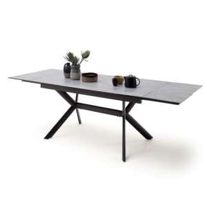Siros Extending Glass Dining Table In Concrete Effect